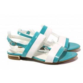 Дамски сандали - естествена кожа - сини - EO-16010