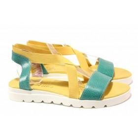 Дамски сандали - естествена кожа - жълти - EO-16011