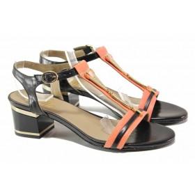 Дамски сандали - естествена кожа - черни - EO-16006