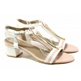 Дамски сандали - естествена кожа - бели - EO-16007