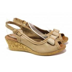Дамски сандали - естествена кожа - бежови - EO-15936