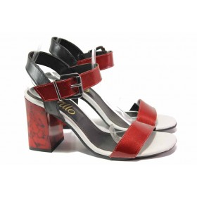 Дамски сандали - естествена кожа - червени - EO-15937