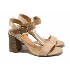 Дамски сандали - естествена кожа - розови - EO-15938