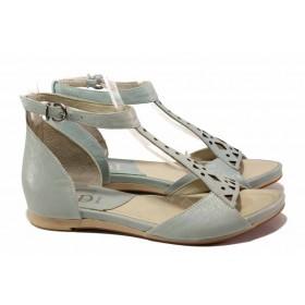 Дамски сандали - естествена кожа - зелени - EO-15909