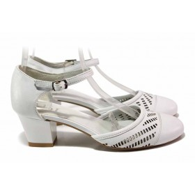 Дамски обувки на среден ток - естествена кожа - бели - EO-15939