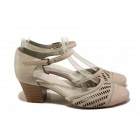 Дамски обувки на среден ток - естествена кожа - бежови - EO-15940