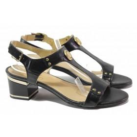 Дамски сандали - естествена кожа - черни - EO-15941