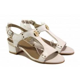 Дамски сандали - естествена кожа - бели - EO-15942