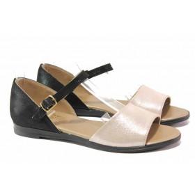 Дамски сандали - естествена кожа - черни - EO-15911
