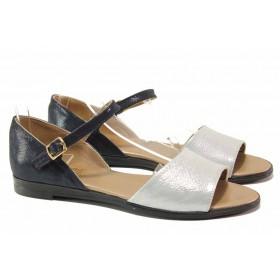 Дамски сандали - естествена кожа - сини - EO-15912