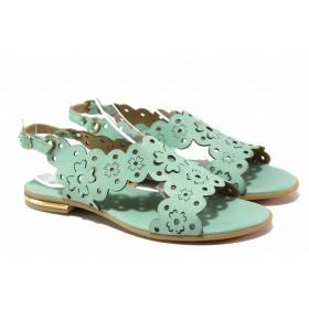Дамски сандали - естествена кожа - зелени - EO-15913