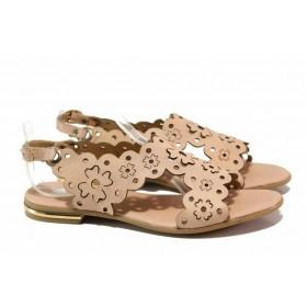 Дамски сандали - естествена кожа - розови - EO-15914