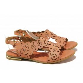 Дамски сандали - естествена кожа - корал - EO-15915