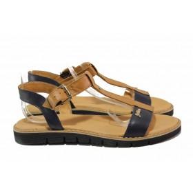 Дамски сандали - естествена кожа - кафяви - EO-15946