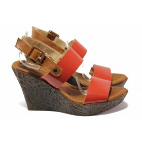 Дамски сандали - естествена кожа - червени - EO-15943