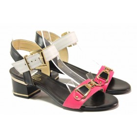 Дамски сандали - естествена кожа - розови - EO-15944