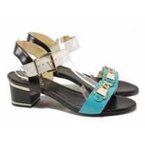 Дамски сандали - естествена кожа - сини - EO-15945