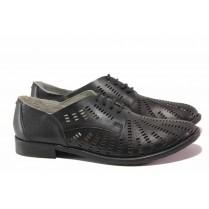 Равни дамски обувки - естествена кожа - черни - EO-15950