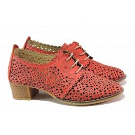 Дамски обувки на среден ток - естествена кожа - червени - EO-16135