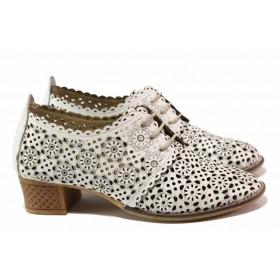 Дамски обувки на среден ток - естествена кожа - бели - EO-16136