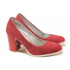 Дамски обувки на висок ток - естествен велур - червени - EO-16138