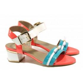Дамски сандали - естествена кожа-лак - зелени - EO-16140