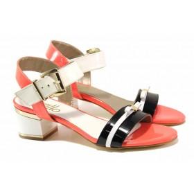 Дамски сандали - естествена кожа-лак - оранжеви - EO-16139