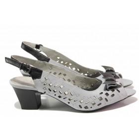 Дамски сандали - естествена кожа-лак - сиви - EO-16070