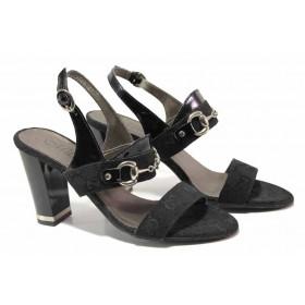 Дамски сандали - естествена кожа-лак - черни - EO-16069