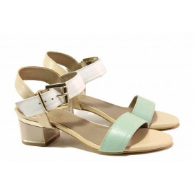 Дамски сандали - естествена кожа - зелени - EO-16141