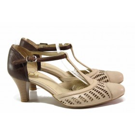 Дамски обувки на среден ток - естествена кожа - бежови - EO-16099