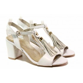 Дамски сандали - естествена кожа - бели - EO-16142