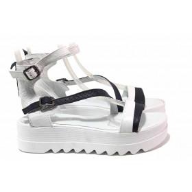 Дамски сандали - естествена кожа - бели - EO-16144