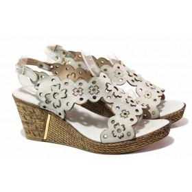 Дамски сандали - естествена кожа - сиви - EO-16145