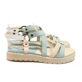 Дамски сандали - естествена кожа - зелени - EO-16147