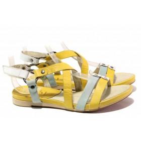 Дамски сандали - естествена кожа - жълти - EO-16148