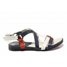 Дамски сандали - естествена кожа - сини - EO-16149