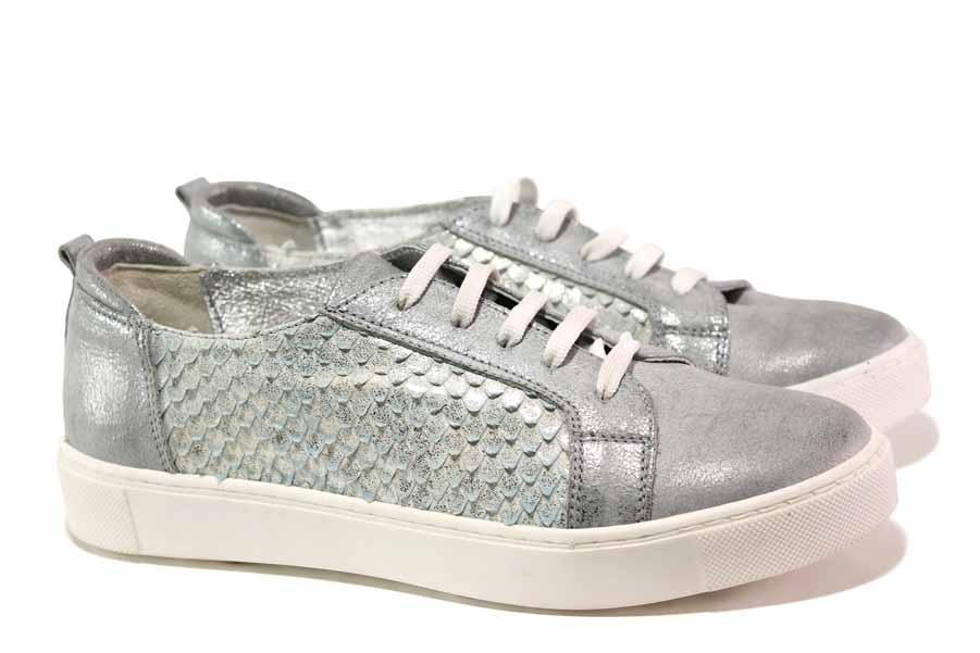 Равни дамски обувки - естествена кожа - сребро - EO-16093