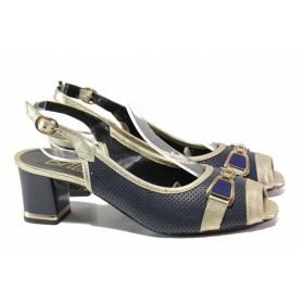 Дамски сандали - естествена кожа - сини - EO-16100