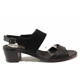 Дамски сандали - естествена кожа - черни - EO-16067