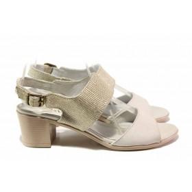 Дамски сандали - естествена кожа - бежови - EO-16068