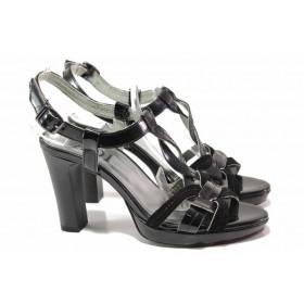 Дамски сандали - естествена кожа-лак - черни - EO-16056