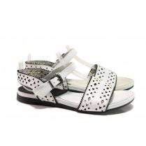 Дамски сандали - естествена кожа - бели - EO-16101