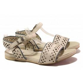 Дамски сандали - естествена кожа - бежови - EO-16102