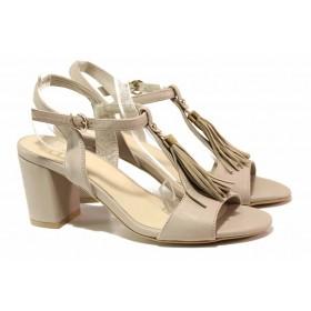 Дамски сандали - естествена кожа - бежови - EO-16143