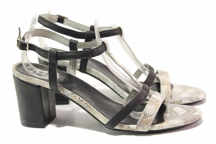 Дамски сандали - естествена кожа - черни - EO-16094