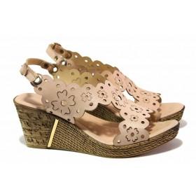 Дамски сандали - естествена кожа - розови - EO-16066