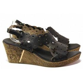 Дамски сандали - естествена кожа - черни - EO-16062