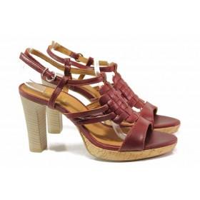 Дамски сандали - естествена кожа - бордо - EO-16054