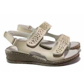 Дамски сандали - естествена кожа - бежови - EO-15983